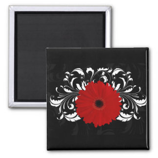 Bright Red Gerbera Daisy on Black 2 Inch Square Magnet
