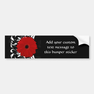 Bright Red Gerbera Daisy on Black Bumper Sticker
