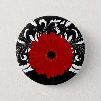 Bright Red Gerbera Daisy on Black Button