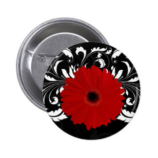 Bright Red Gerbera Daisy on Black 2 Inch Round Button