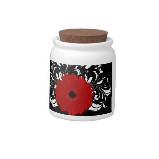 Bright Red Gerbera Daisy on Black Candy Jar