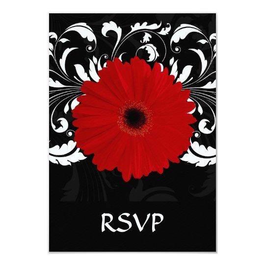 Bright Red Gerbera Daisy on Black Card