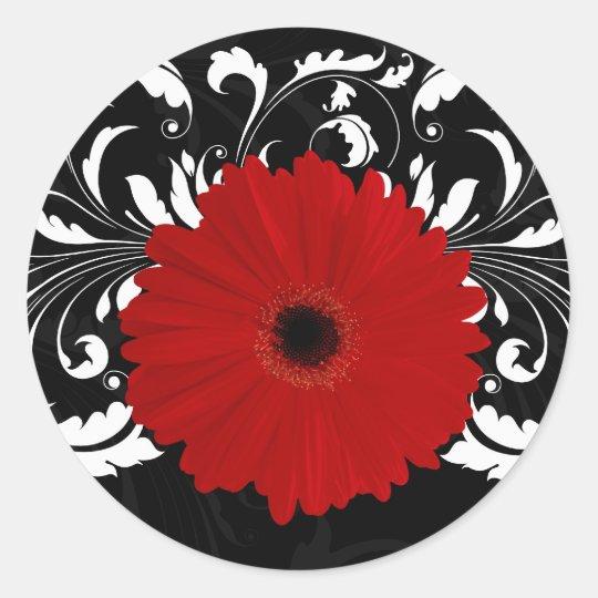 Bright Red Gerbera Daisy on Black Classic Round Sticker