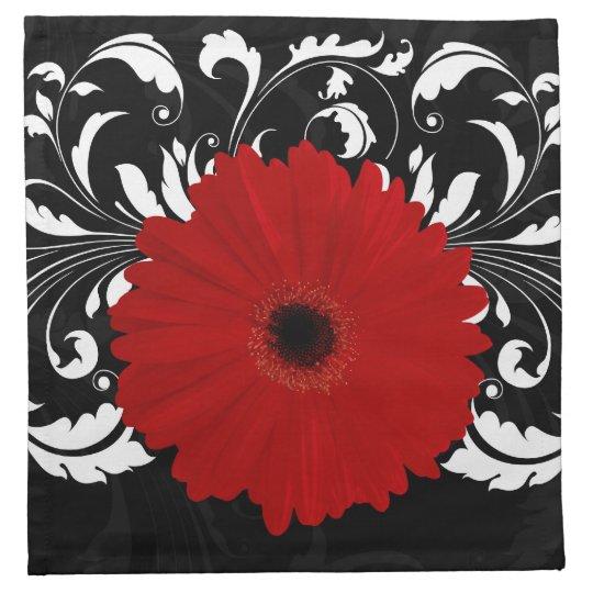 Bright Red Gerbera Daisy on Black Cloth Napkin