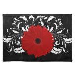 Bright Red Gerbera Daisy on Black Cloth Place Mat