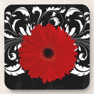 Bright Red Gerbera Daisy on Black Drink Coaster