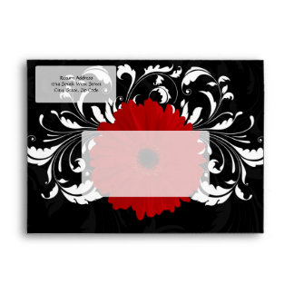 Bright Red Gerbera Daisy on Black Envelope