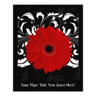 Bright Red Gerbera Daisy on Black Flyer