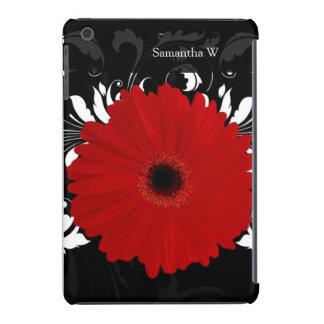Bright Red Gerbera Daisy on Black iPad Mini Cover