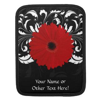 Bright Red Gerbera Daisy on Black iPad Sleeves