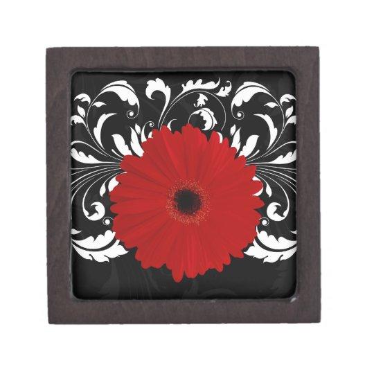 Bright Red Gerbera Daisy on Black Jewelry Box