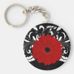 Bright Red Gerbera Daisy on Black Keychain