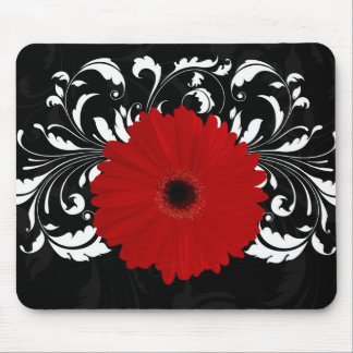 Bright Red Gerbera Daisy on Black Mouse Pad