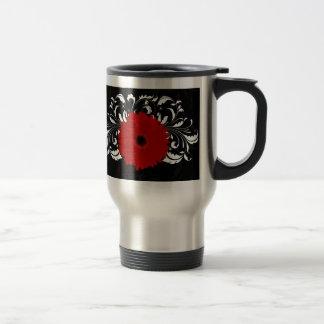 Bright Red Gerbera Daisy on Black Mugs