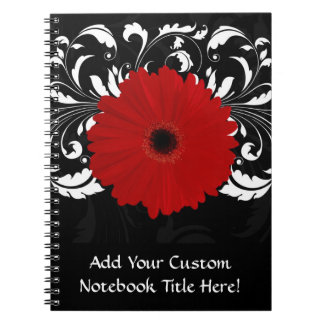 Bright Red Gerbera Daisy on Black Spiral Note Book