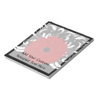Bright Red Gerbera Daisy on Black Scratch Pad