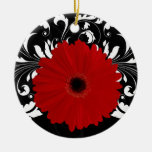 Bright Red Gerbera Daisy on Black Ornaments