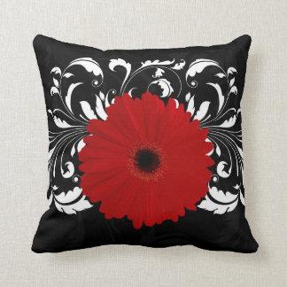 Bright Red Gerbera Daisy on Black Pillow
