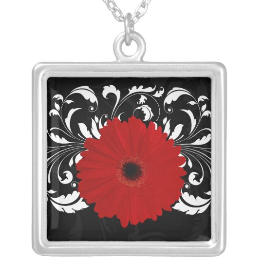 Bright Red Gerbera Daisy on Black Silver Plated Necklace