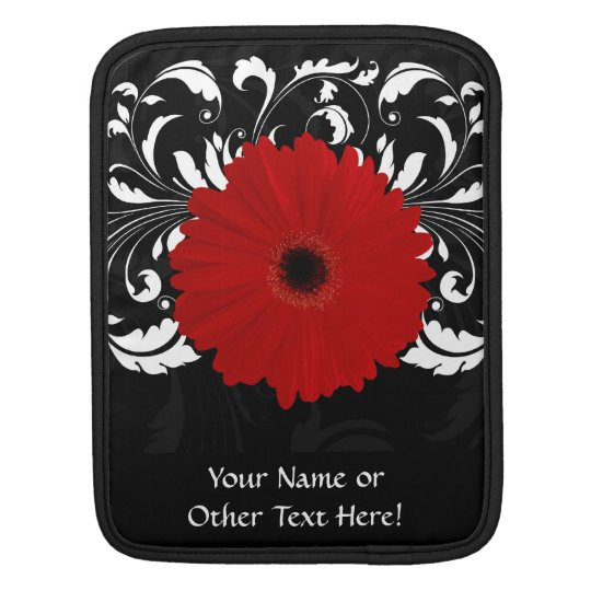 Bright Red Gerbera Daisy on Black Sleeve For iPads