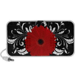 Bright Red Gerbera Daisy on Black Notebook Speaker