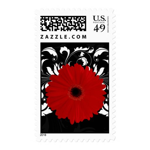 Bright Red Gerbera Daisy on Black Stamp