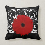 Bright Red Gerbera Daisy on Black Throw Pillow