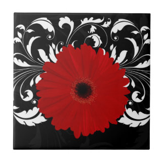 Bright Red Gerbera Daisy on Black Tile