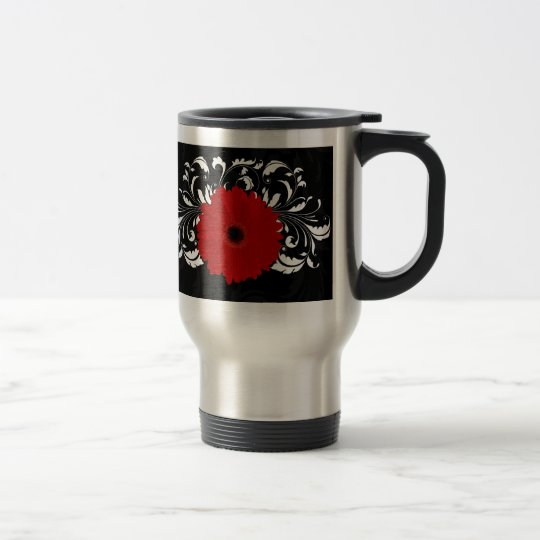 Bright Red Gerbera Daisy on Black Travel Mug