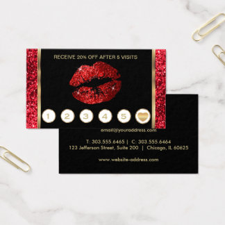 Bright Red Glitter Lips Loyalty Business Card