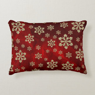 Bright Red Gold Snowflakes Accent Pillow