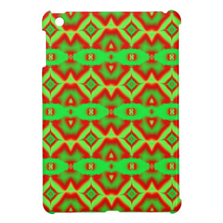 Bright red green abstract pattern iPad mini cover