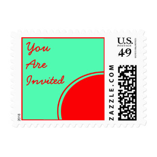 Bright Red Green Mod Party Invite Postage