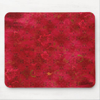 Bright Red Grungy Pattern Mouse Pad