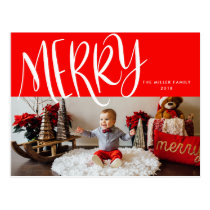 Bright Red Hand-Lettered Merry Photo Postcard