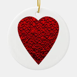 Bright Red Heart Picture. Ceramic Ornament