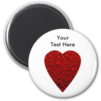 Bright Red Heart Picture. 2 Inch Round Magnet