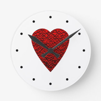 Bright Red Heart Picture. Round Clock