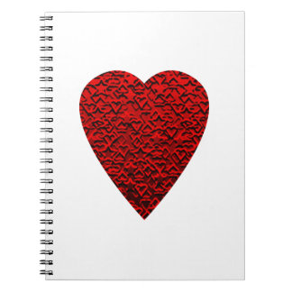 Bright Red Heart Picture. Spiral Note Book