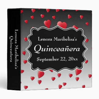 Bright Red Hearts Pattern Quinceanera 3 Ring Binder