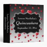 Bright Red Hearts Pattern Quinceanera 3 Ring Binders