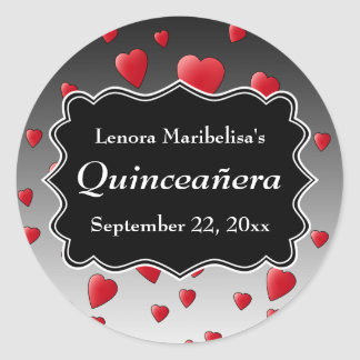 Bright Red Hearts Pattern Quinceanera Classic Round Sticker