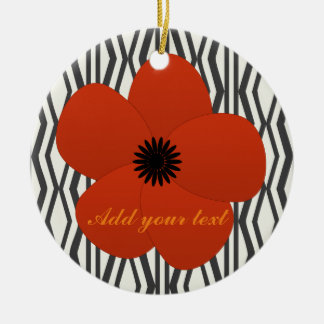 Bright Red Holiday Season Flower Gift Ceramic Ornament