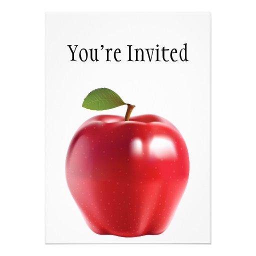 Bright Red Juicy Delicious Apple Custom Invitation
