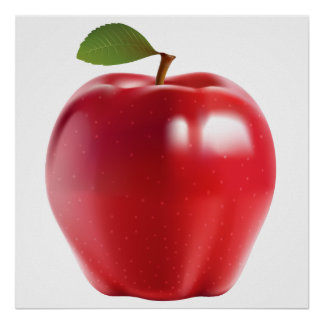 Bright Red Juicy Delicious Apple Poster