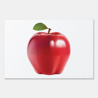 Bright Red Juicy Delicious Apple Sign