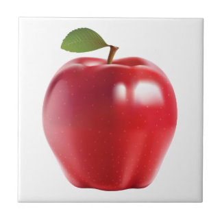 Bright Red Juicy Delicious Apple Tile
