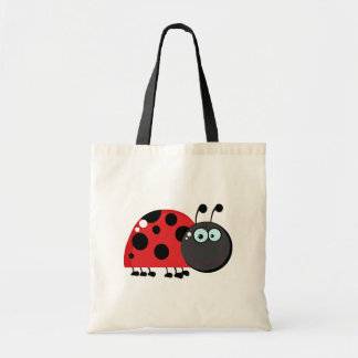 Bright Red Lady Bug Tote Bag