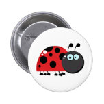 Bright Red Lady Bug Pinback Buttons