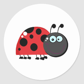 Bright Red Lady Bug Classic Round Sticker